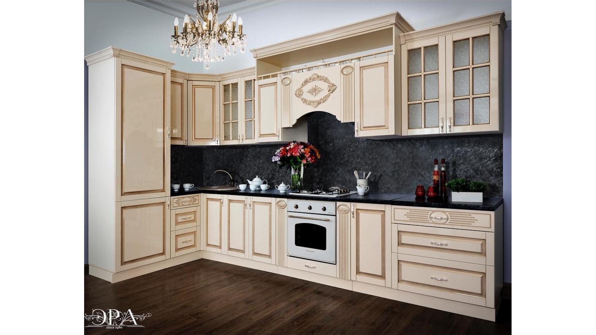 кухня Верона угловая 3,9х1,6м крем глянец