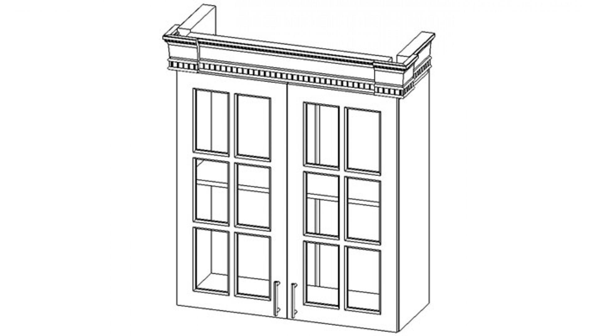 Верона секция навесная 2-створчатая с полкой, фасад со стеклом крем глянец