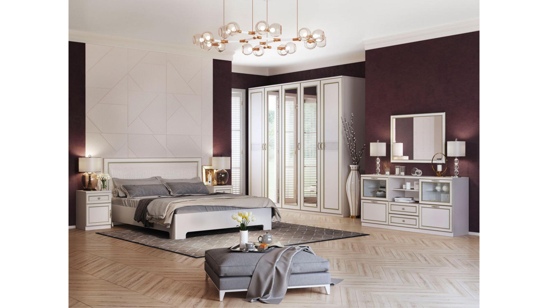 Спальня (комплект 3) Кураж дуб альбино (патина «золото»)