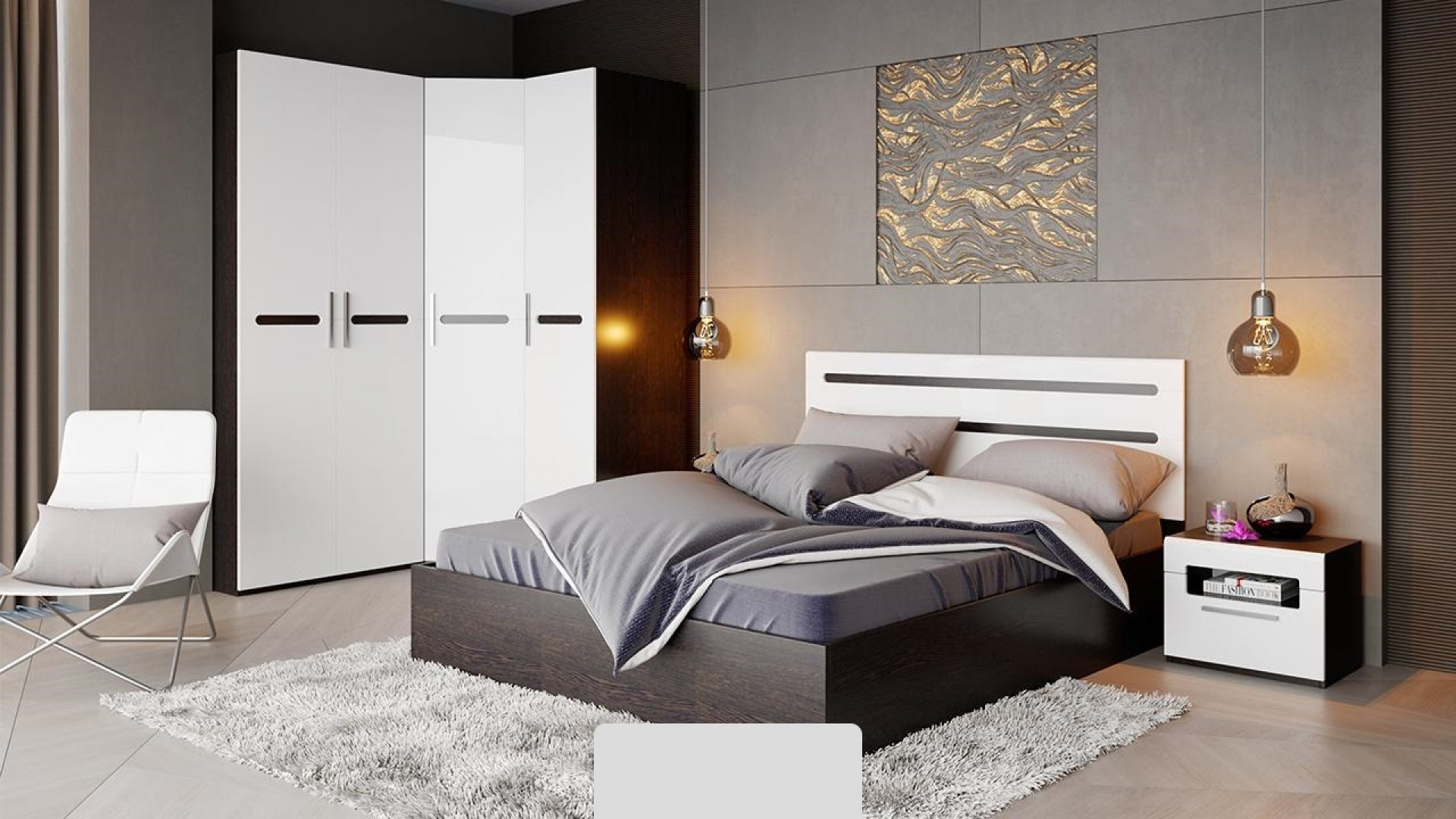 Спальный гарнитур Фьюжн №1 (Белый глянец, Венге Линум)