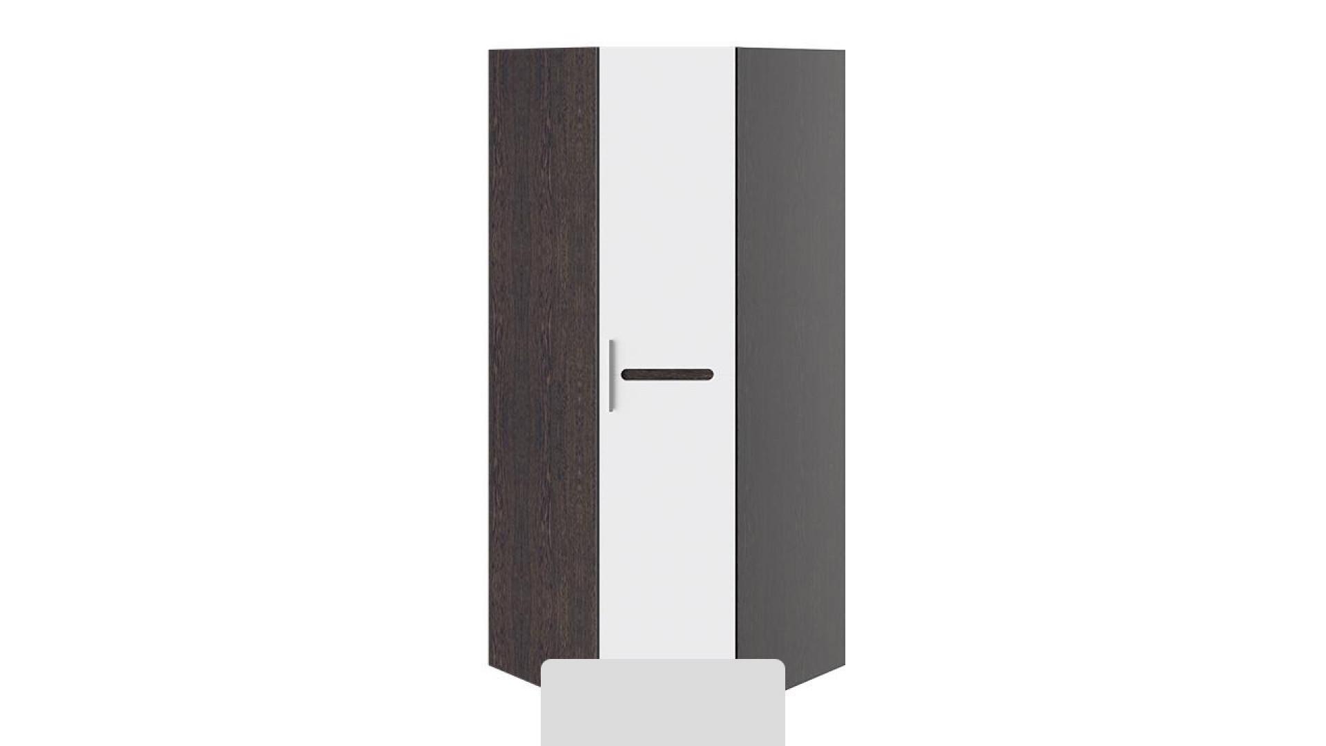 Шкаф угловой с 1-ой глухой дверью Фьюжн (Белый глянец, Венге Линум)