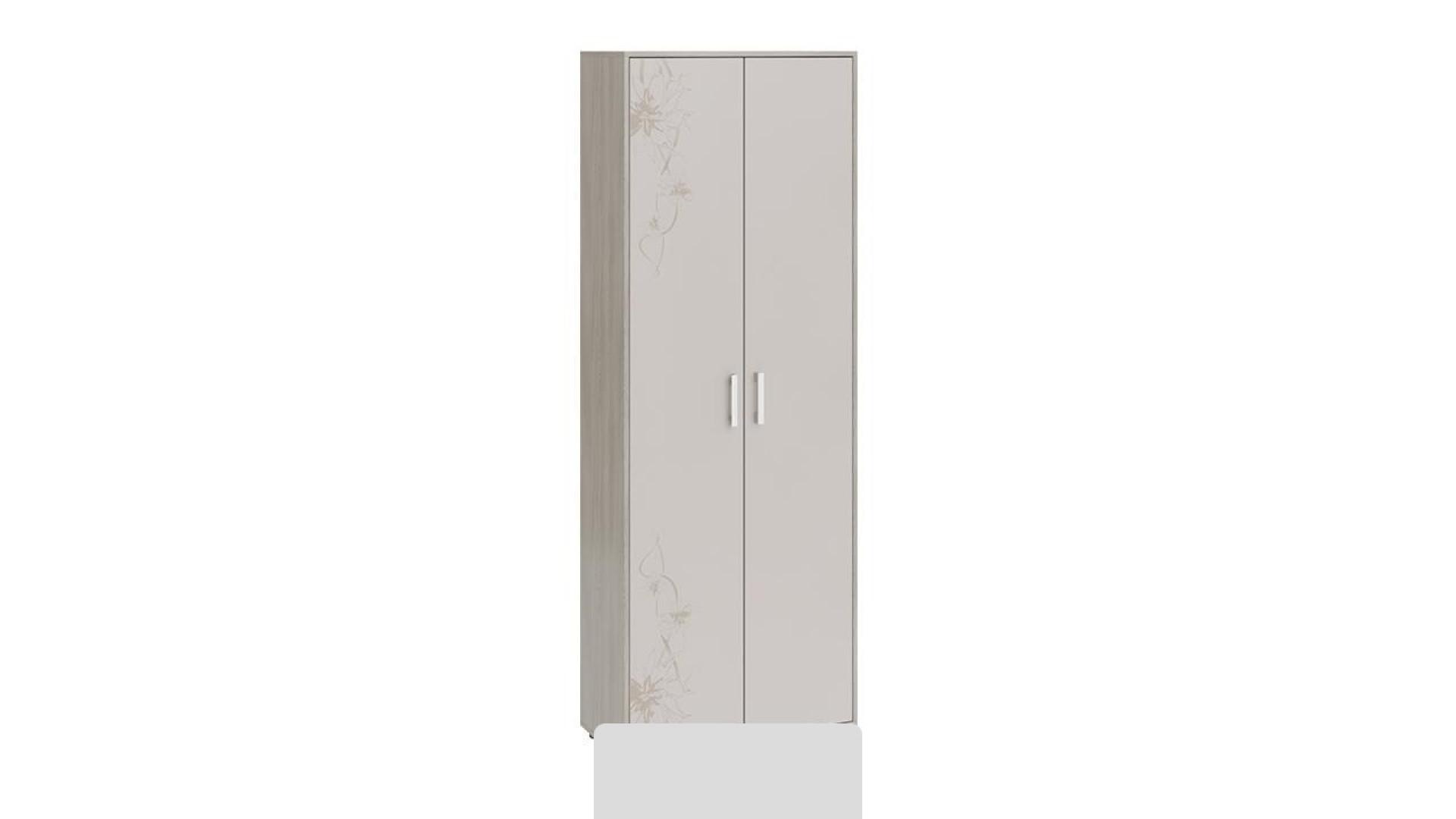 Шкаф комбинированный Витра тип 1 (Ясень шимо/Бежевый фон глянец с рисунком)