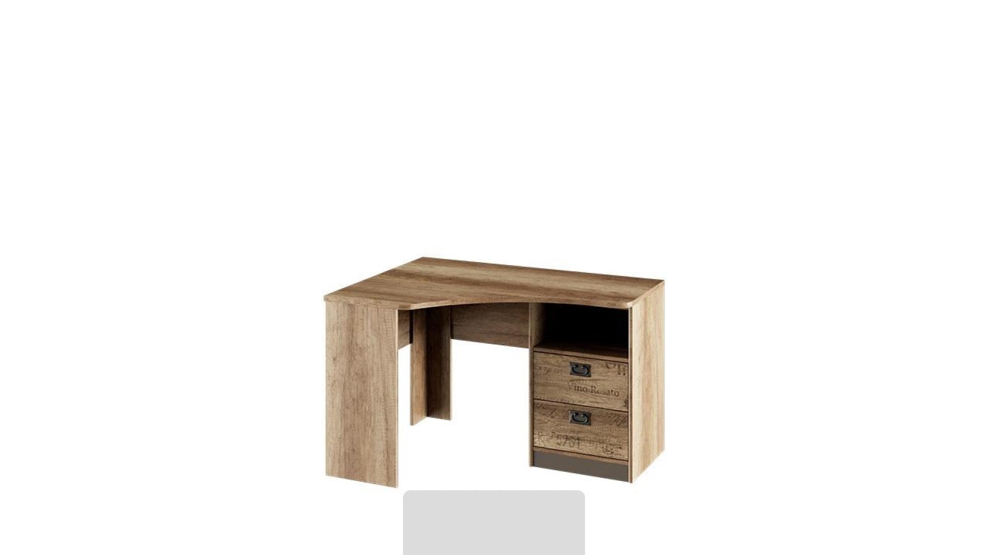 Стол угловой с ящиками Пилигрим (Дуб Каньон светлый, Фон серый)