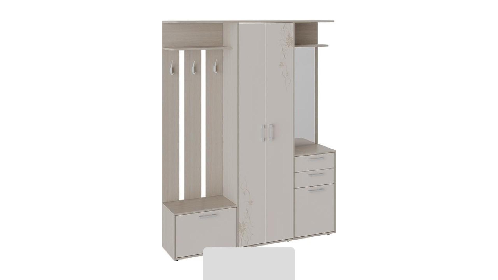 Набор мебели для прихожей Витра Тип 2 (Ясень шимо/Бежевый фон глянец с рисунком)