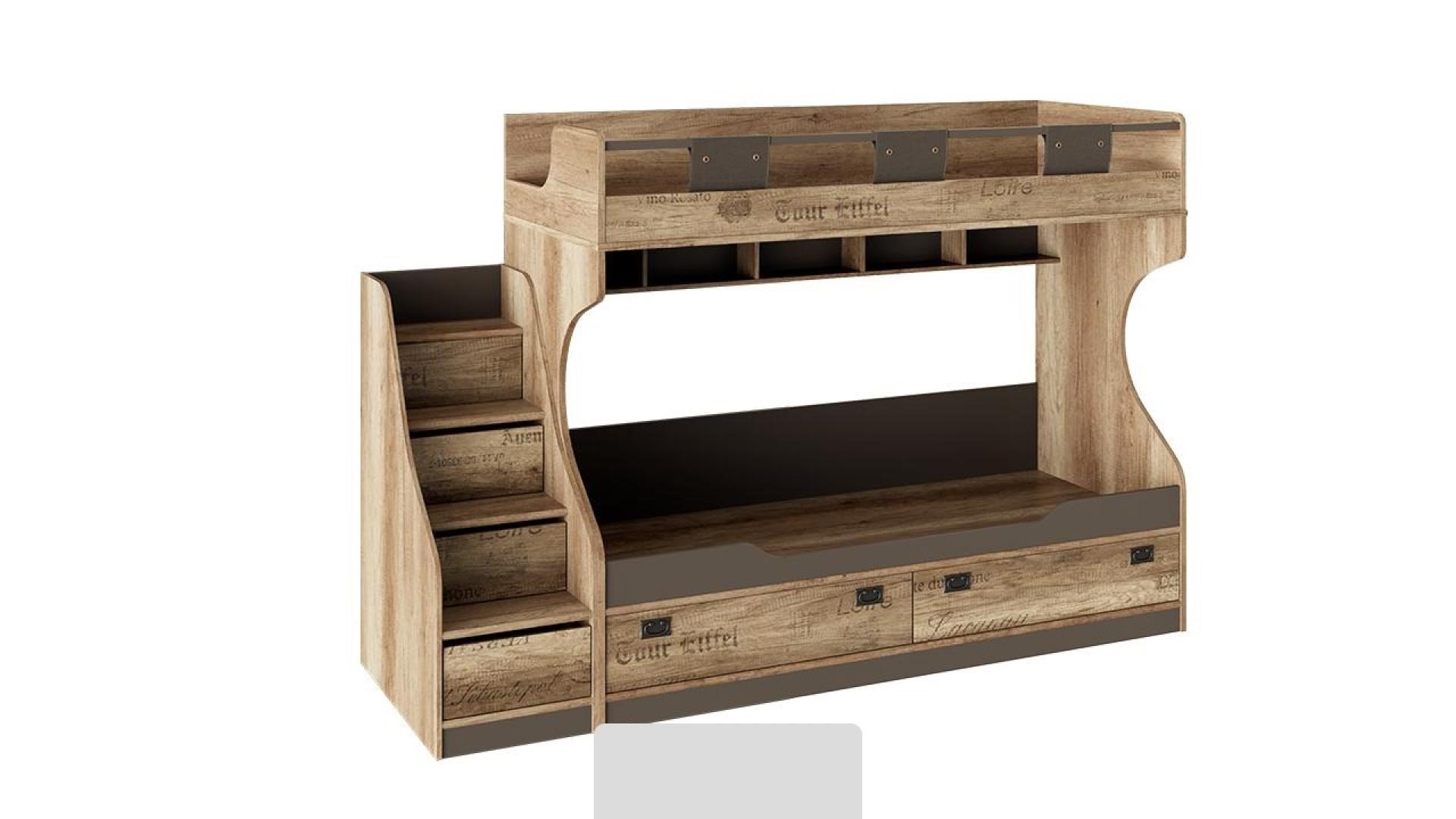 Кровать двухъярусная с приставной лестницей Пилигрим (Дуб Каньон светлый, Фон серый)